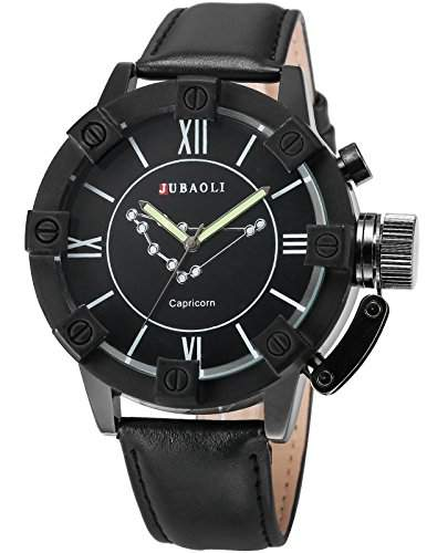 AMPM24 Herren Armbanduhr Analog Quarzuhr Steinbock Schwarz Leder Band WAA801