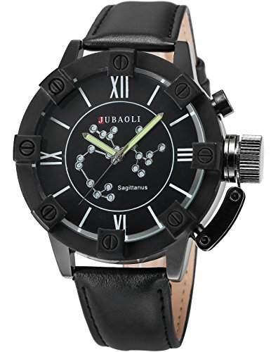AMPM24 Herren Armbanduhr Analog Quarzuhr Schuetze Schwarz Leder Band WAA802