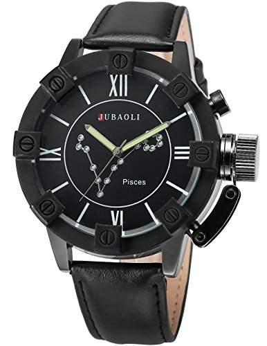 AMPM24 Herren Armbanduhr Analog Quarzuhr Fische Schwarz Leder Band WAA804