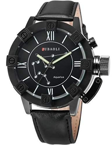 AMPM24 Herren Armbanduhr Analog Quarzuhr Wassermann Schwarz Leder Band WAA806