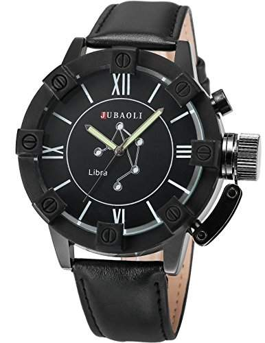 AMPM24 Herren Armbanduhr Analog Quarzuhr Waage Schwarz Leder Band WAA807