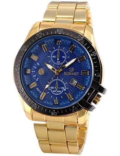 AMPM24 Herren Armbanduhr Analog Quarzuhr Datum Anzeige Gold Band Bussiness Watch WAA814