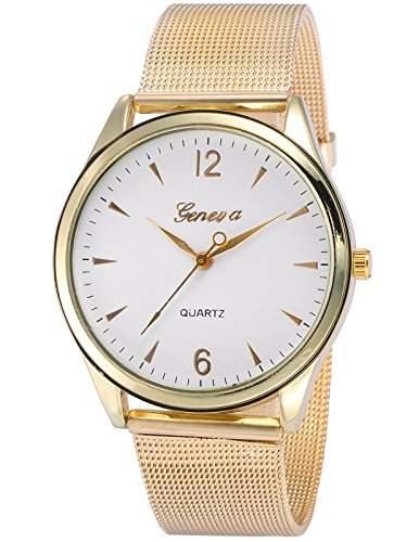 AMPM24 Damen Armbanduhr Analog Quarzuhr Golden Uhr Karo Band WAA872