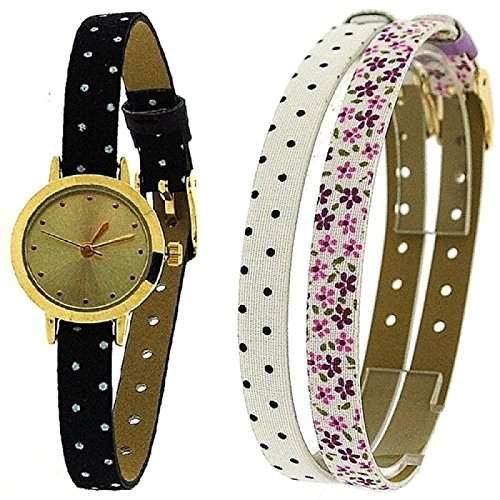 Portobello Road Damen Uhrengeschenkset, drei schmale Tauschbaender, APR2005