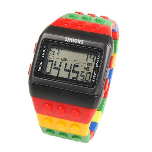 Farbe Multifunktion Armbanduhr SHHORS Regenbogen Farbe Multifunktion Wasserdichte LED Kinder Armbanduhr Schwimmen Sportuhr Digital Armbanduhr styel 15