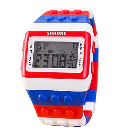 Farbe Multifunktion Armbanduhr SHHORS Regenbogen Farbe Multifunktion Wasserdichte LED Kinder Armbanduhr Schwimmen Sportuhr Digital Armbanduhr styel 14