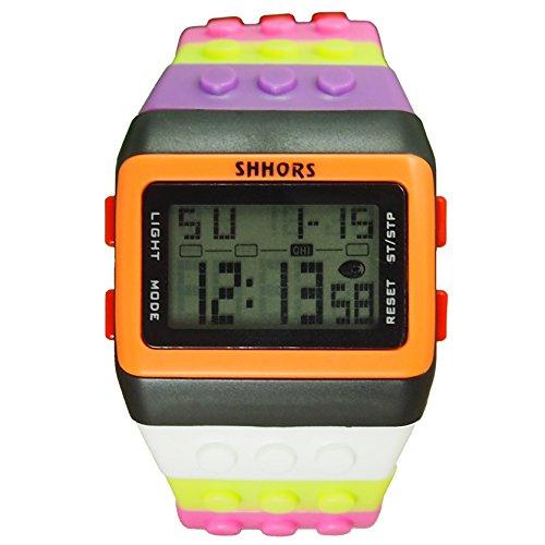Farbe Multifunktion Armbanduhr SHHORS Regenbogen Farbe Multifunktion Wasserdichte LED Schwimmen Sportuhr styel 5