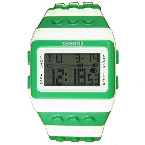 Farbe Multifunktion Armbanduhr SHHORS Regenbogen Farbe Multifunktion Wasserdichte LED Kinder Armbanduhr Schwimmen Sportuhr Digital Armbanduhr styel 13