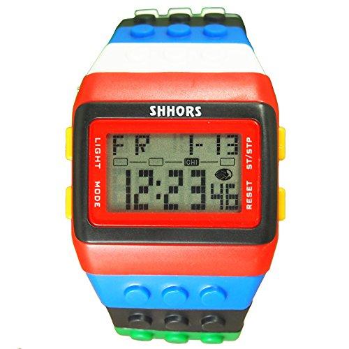 Farbe Multifunktion Armbanduhr SHHORS Regenbogen Farbe Multifunktion Wasserdichte LED Kinder Armbanduhr Schwimmen Sportuhr Digital Armbanduhr styel 3