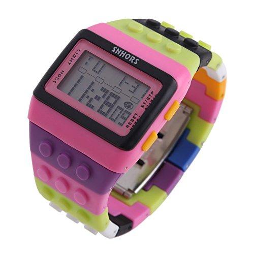 Farbe Multifunktion Armbanduhr SHHORS Regenbogen Farbe Multifunktion Wasserdichte LED Kinder Armbanduhr Schwimmen Sportuhr Digital Armbanduhr styel 8