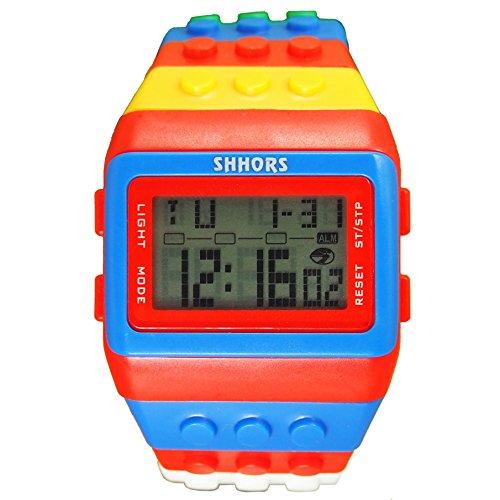 Farbe Multifunktion Armbanduhr SHHORS Regenbogen Farbe Multifunktion Wasserdichte LED Kinder Armbanduhr Schwimmen Sportuhr Digital Armbanduhr styel 2