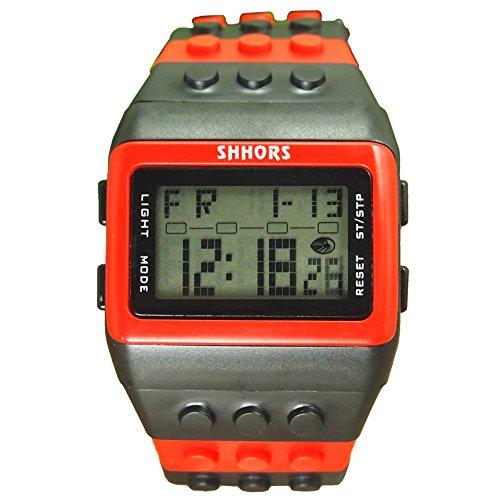 Farbe Multifunktion Armbanduhr SHHORS Regenbogen Farbe Multifunktion Wasserdichte LED Kinder Armbanduhr Schwimmen Sportuhr Digital Armbanduhr styel 12
