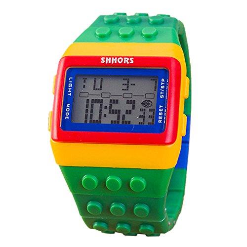 Farbe Multifunktion Armbanduhr SHHORS Regenbogen Farbe Multifunktion Wasserdichte LED Kinder Armbanduhr Schwimmen Sportuhr Digital Armbanduhr styel 6