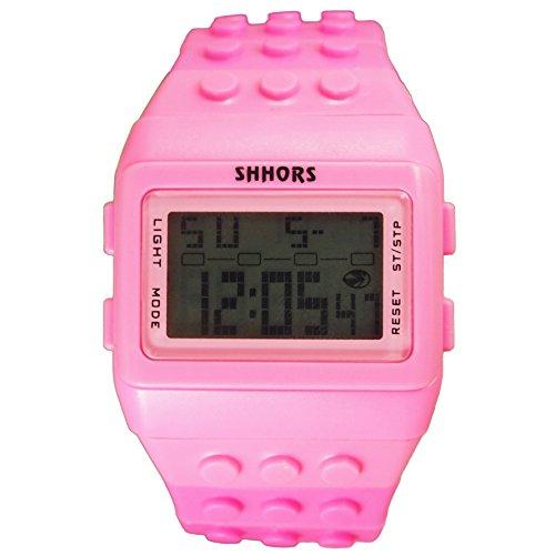 Farbe Multifunktion Armbanduhr SHHORS Volltonfarbe Farbe Multifunktion Wasserdichte LED Kinder Armbanduhr Schwimmen Sportuhr Digital Armbanduhr rosa