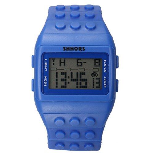 Farbe Multifunktion Armbanduhr SHHORS Volltonfarbe Farbe Multifunktion Wasserdichte LED Kinder Armbanduhr Schwimmen Sportuhr Digital Armbanduhr marineblau