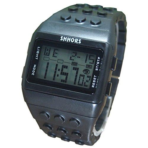 Farbe Multifunktion Armbanduhr SHHORS Volltonfarbe Farbe Multifunktion Wasserdichte LED Schwimmen Sportuhr schwarz