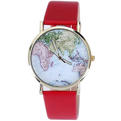 New Rotgold vergoldet PU Mode Lederuhren Quarz Damenuhr Lichtfarbe Weltkarte zu Frauen