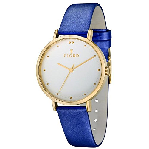 Fjord Dotta Damen Armbanduhr 36mm Armband Leder Blau Gehaeuse Gold beschichtetes Edelstahl Quarz FJ 6019 04