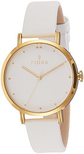 Fjord Dotta Damen Armbanduhr 36mm Armband Leder Weiss Gehaeuse Gold beschichtetes Edelstahl Quarz FJ 6019 05