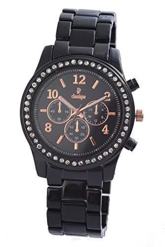 Exclusive Armbanduhr Uhr DamenuhrAnalog Schwarz Roségoldfarben Strass