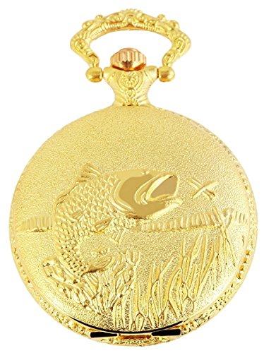 Classique Analog Taschenuhr mit Metall Kette Fisch Angeln 480702000051 Goldfarbiges Gehaeuse im Masse 46mm x 15mm mit Ziffernblattfarbe Weiss und Mineralglas