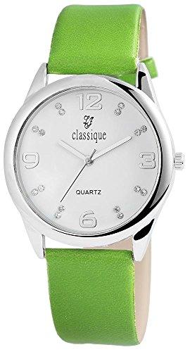 Classique Armbanduhr mit Lederimitationsarmband Hellgruen Silberfarben Strass
