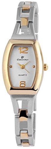 Classique Damenuhr mit Metallarmband Armbanduhr Uhr Weiss 100412000283