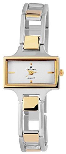 Classique Damenuhr mit Metallarmband Armbanduhr Uhr Weiss 100412000319