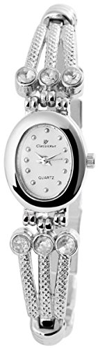 Classique Damenuhr mit Metallarmband Armbanduhr Uhr 100422000185