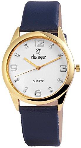 Classique Armbanduhr mit Lederimitationsarmband Blau Goldfarben Strass