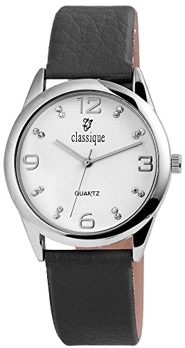 Classique Armbanduhr mit Lederimitationsarmband Grau Silberfarben Strass