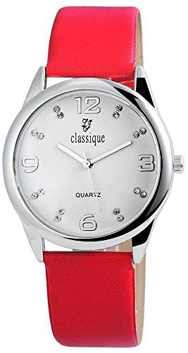 Classique Armbanduhr mit Lederimitationsarmband Rot Silberfarben Strass