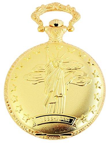 Classique Analog Taschenuhr mit Metall Kette FreiheitsstatueAmerika 480702000065 Goldfarbiges Gehaeuse im Masse 46mm x 14mm mit Ziffernblattfarbe Weiss und Mineralglas