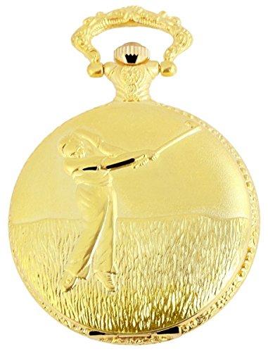 Classique Analog Taschenuhr mit Metall Kette und Hakenverschluss Golf Sport 480702000026 Goldfarbiges Gehaeuse im Masse 46mm x 15mm mit Ziffernblattfarbe Weiss und Mineralglas