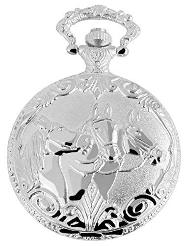 Classique Analog Taschenuhr mit Metall Kette und Hakenverschluss Pferde 480722000017 Silberfarbiges Gehaeuse im Masse 46mm x 15mm mit Ziffernblattfarbe Weiss und Mineralglas