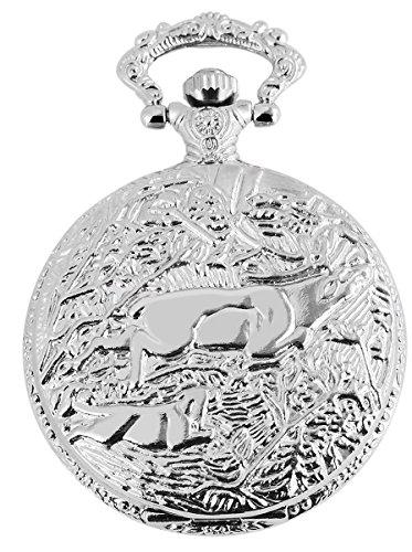 Classique Analog Taschenuhr mit Metall Kette und Hakenverschluss Hirsch Jagd 480722000028 Silberfarbiges Gehaeuse im Masse 46mm x 14mm mit Ziffernblattfarbe Weiss und Mineralglas