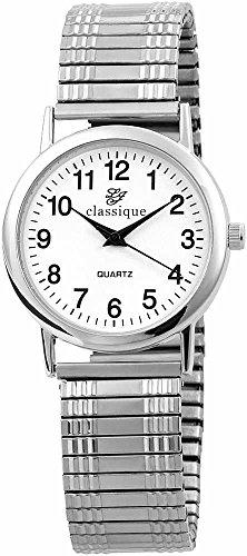Classique Herren Uhr Armbanduhr mit Metallzugband silberfarben