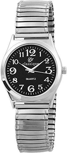 Classique Herrenuhr Uhr Schwarz Metallzugband Br17mm Silberfarbig RP1321000002