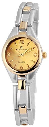 Classique Damenuhr mit Metallarmband Armbanduhr Uhr goldfarbig 100414000303