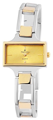 Classique Damenuhr mit Metallarmband Armbanduhr Uhr goldfarbig 100414000319