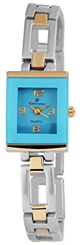 Classique Damen mit Quarzwerk 100413500276 und Metallgehaeuse mit Mehrfarbigem Metallarmband und Clipverschluss Ziffernblattfarbe blau Bandgesamtlaenge 19 cm Armbandbreite 10 mm