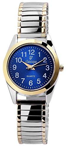 Classique Damenuhr analog Armbanduhr Bicolor Quarzwerk und Metallgehaeuse rund 28mm x 8mm Metallzugband Bicolor Breite 14mm und Ziffernblatt in blau RP2113000003