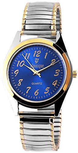 Classique Herrenuhr analog Armbanduhr Bicolor Quarzwerk und Metallgehaeuse rund 37mm x 7mm Metallzugband Bicolor Breite 18mm und Ziffernblatt in blau RP8513000001