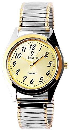 Classique Herrenuhr analog Armbanduhr Bicolor Quarzwerk und Metallgehaeuse rund 37mm x 7mm Metallzugband Bicolor Breite 18mm und Ziffernblatt in goldfarbig RP8514000001