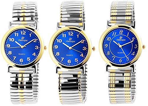 Classique Herren Analog Armbanduhr mit Quarzwerk 200413000053 und Metallgehaeuse mit Mehrfarbigem Metallzugband Ziffernblattfarbe blau Armbandbreite 17 mm