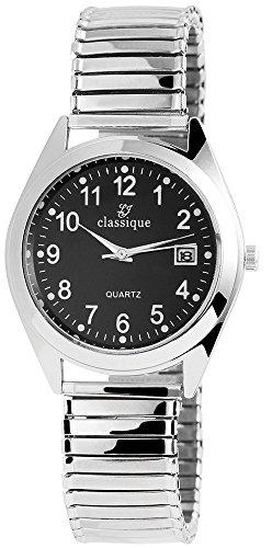 Classique Herren Analog Armbanduhr mit Quarzwerk RP1332100002 und Metallgehaeuse mit Silberfarbigem Metallzugband Ziffernblattfarbe schwarz Armbandbreite 18 mm