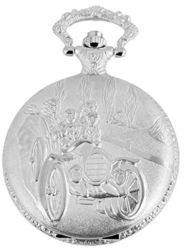 Classique Analog Taschenuhr mit Metall Kette OldtimerAuto 480722000072 Silberfarbiges Gehaeuse im Masse 46mm x 14mm mit Ziffernblattfarbe Weiss und Mineralglas