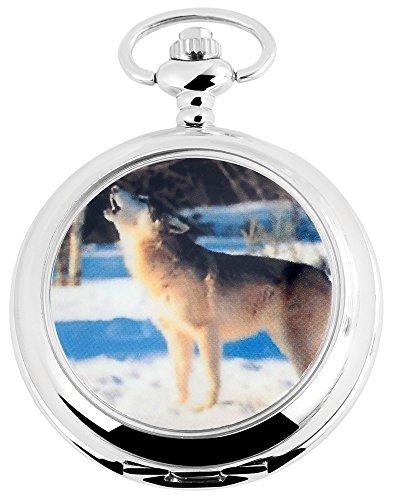 Classique Analog Taschenuhr mit Quarzwerk Wolf Hund 480722000009 Gehaeuse im Masse 47mm x 16mm mit Mineralglas