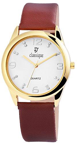 Armbanduhr Weiss Kunstlederarmband 23cm Dornschliesse Braun RP1610700001