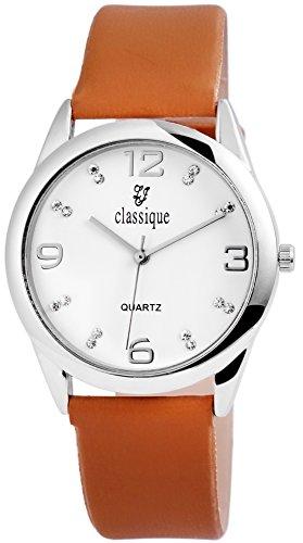 Armbanduhr Weiss Kunstlederarmband 23cm Dornschliesse Braun RP1612750001